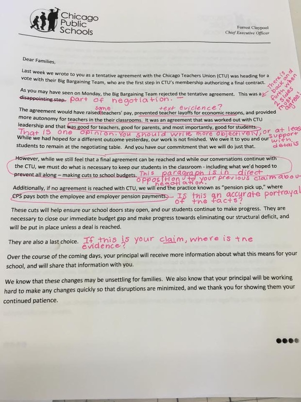 Teachers union calls out cps lies in letter to parents downtown emily bittner a cps spokeswoman told dnainfo chicago in a statement that reaching an agreement that protects classrooms treats teachers fairly and helps platinumwayz