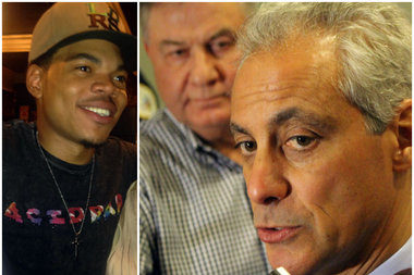 While Mayor Rahm Emanuel told WLS Radio's Bill Cameron he is looking to the future, Chance the Rapper (left) asked fans to not forget