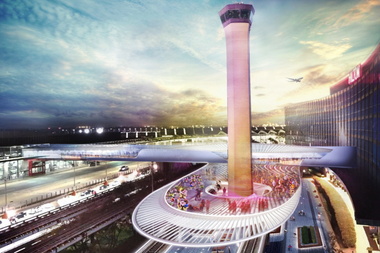 A rendering of the exterior of the O'Hare Express Rail terminal at the airport.
