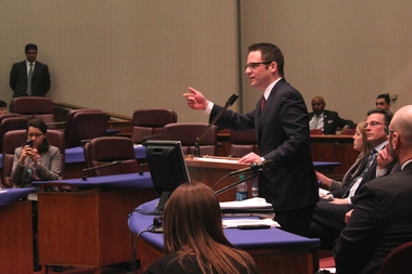 Ald. Proco Joe Moreno (1st) voices his support for the Lathrop Homes project at the Plan Commission meeting Thursday.