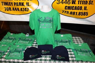 Shirts for the 2016 South Side Irish St. Patrick's Day Parade were unveiled Wednesday at the Beverly Arts Center. The shirts are available at South Side Irish Imports in Mount Greenwood and suburban Tinley Park. A portion of the proceeds will be donated to support childhood cancer research.