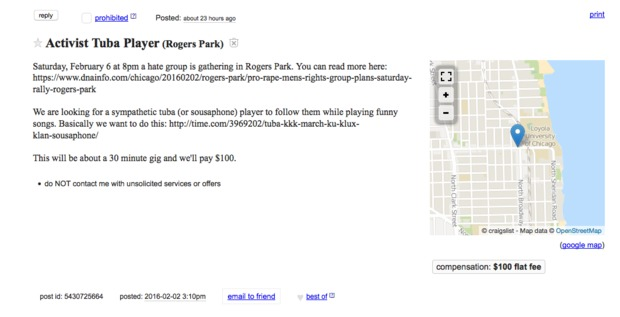 A Craigslist ad is seeking a tuba player to follow around a men's rights group and play