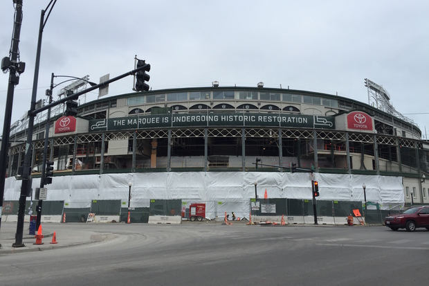 Wrigley Field, pictured here on Sunday, is missing its signature marquee and most of its facade as renovations continue in the Cubs offseason.