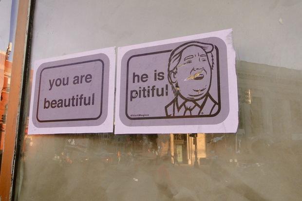 Anti Trump street art in Wicker Park.