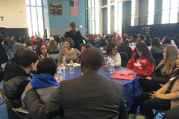 State Rep. La Shawn Ford (D-Chicago) speaks to students at a youth conference at Jones College Prep.