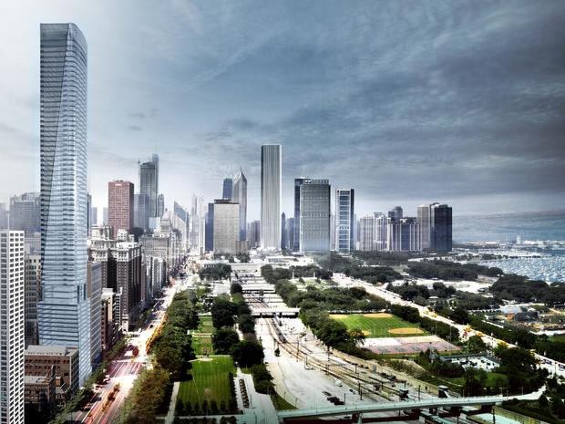 Check out the new design for Helmut Jahn's proposed South Loop skyscraper.