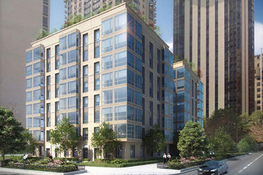 A rendering of an 80-unit apartment building Draper & Kramer wants to build at 65 E. Banks St. The developer once proposed a 40-story tower at the site before getting into a legal fight with the city and neighbors.