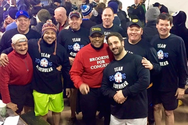 The Polar Plunge team known as the Alderbears included Ald. Brian Hopkins (2nd), Ald. Patrick Thompson (11th), Ald. Matthew O'Shea (19th), Ald. Howard Brookins (21st), Ald. Michael Scott, Jr. (24th), Ald. Ariel Reboyras (30th) Ald. Anthony Napolitano (41st), Ald. Brendan Reilly (42nd) and Ald. Harry Osterman (48th).