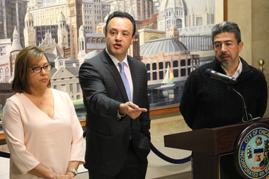 Supported by Aldermen Milly Santiago (l.) and Danny Solis (r.), Ald. George Cardenas says the Latino Caucus finds it