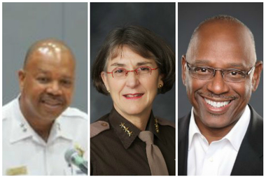 Eugene Williams (from l.), Anne Kirkpatrick and Cedric Alexander are finalists for Chicago's police superintendent job.