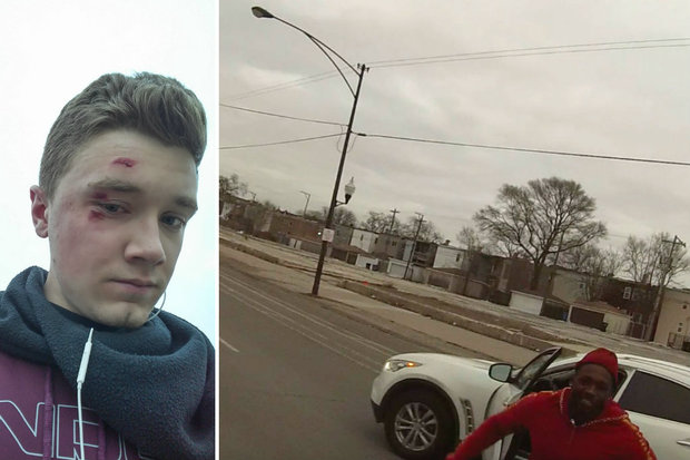 Colton Sodt (l.) was attacked by a motorist after telling him to stay out of the bike lane.