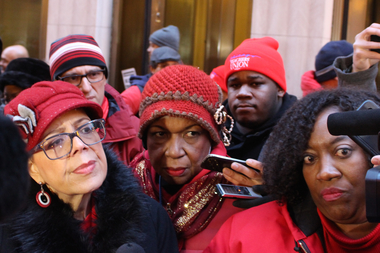Chicago Teachers Union President Karen Lewis (left) and union spokeswoman Stephanie Gadlin (right) have both rejected calls for unity and shared sacrifice in school funding.