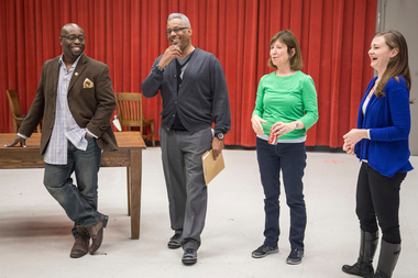 James Earl Jones II, Tim Rhoze, Maureen Gallagher and Tiffany Scott in rehearsals for