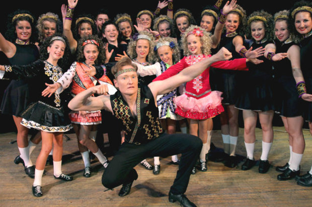 Trinity Irish Dancers gave talk show host Conan O'Brien a dance lesson back in 2012 at the Irish American Heritage Center.