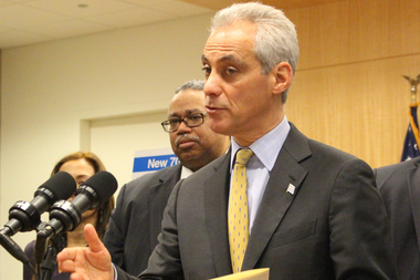 Mayor Rahm Emanuel urged teachers and students to stay in school on the Chicago Teachers Union's