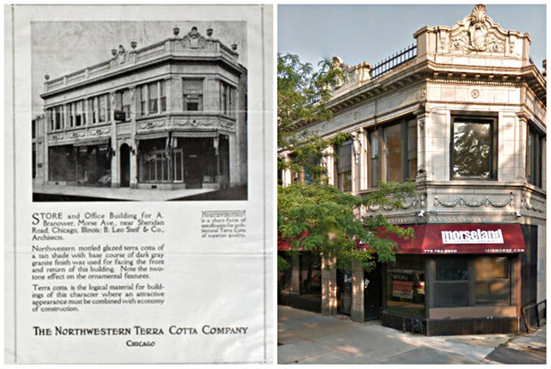 A picture of the Morseland after it opened around 1925 in an advertisement for the Northwestern Terra Cotta Co., next to how the Morseland appeared in September.