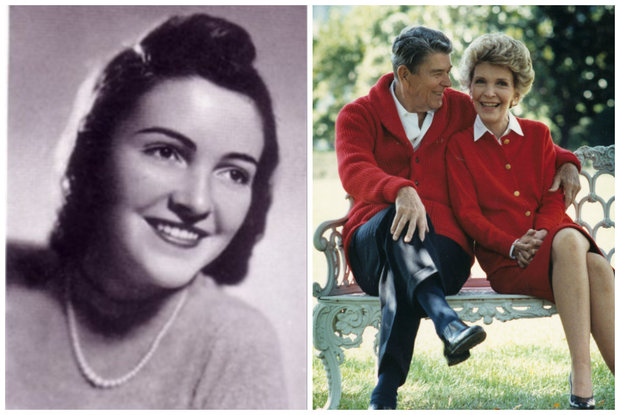 (l.) Nancy Davis, in 1939 yearbook photo from Latin School. (r.) Nancy Reagan and husband Ronald Reagan in 2002.