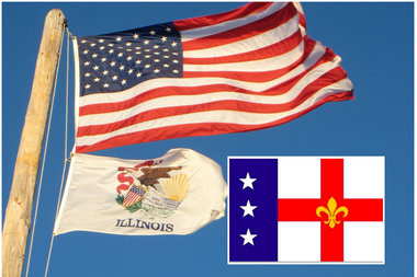 Longtime Dunning resident David Morris wants to change the Illinois flag to his design (inset).