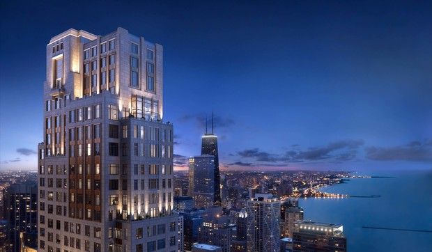 The tower at 451 E. Grand Ave. is influenced by the Palmolive Building and other prewar buildings. Here's a rendering of the tower at night.
