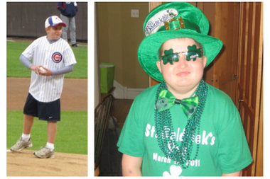 Patrick Thomas McNamara, 13, was able to throw out the first pitch at Wrigley Field before he died Oct. 14, 2011. The Beverly boy who fought an 11-year battle with a brain tumor also donned a party hat and shamrock sunglasses ahead of a St. Baldrick's Day event in early March 2011.