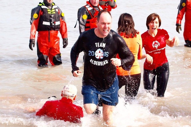 Ald. Matt O'Shea (19th) was among nine Chicago alderman who dove into the icy waters of Lake Michigan as part of Special Olympics Chicago's Polar Plunge. The event Sunday featured the aldermanic team known as the Alderbears.