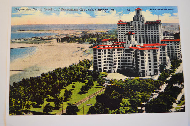 """The Edgewater Beach Hotel (not the """"pink building"""") began construction in 1916 and for a period was """"Chicago's Most Famous Hotel."""" It was torn down in 1970, but the Edgewater Historical Society is seeking memories and mementos for an upcoming exhibit on the hotel."""