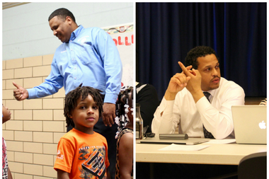 Derrick Orr, principal at Manierre Elementary School (l.), and Troy LaRaviere, principal at Blaine Elementary, are partnering to help address the CPS budget shortfall.
