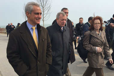 (from l.) Mayor Rahm Emanuel, Sen. Dick Durbin and Ald. Michele Smith (43rd) at a ribbon-cutting ceremony for the Fullerton Revetment project Wednesday afternoon.