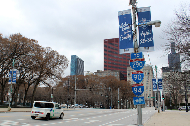 Banners for next month's NFL Draft in Grant Park are sprouting Downtown.