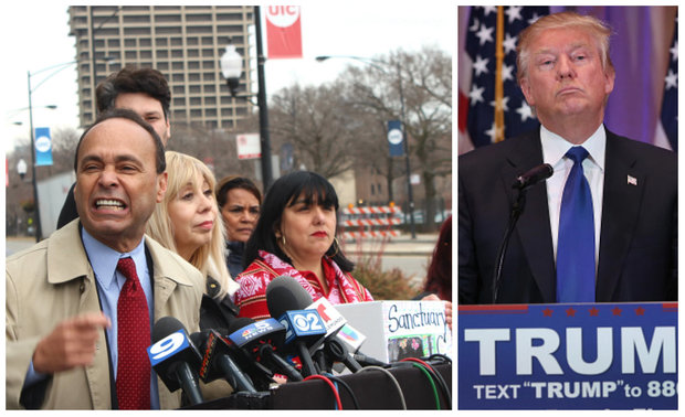 U.S. Rep. Luis Gutierrez and other Latino leaders will protest Republican presidential candidate Donald Trump rally at UIC Pavilion on Friday. Thousands have RSVPed to a protest on Facebook.