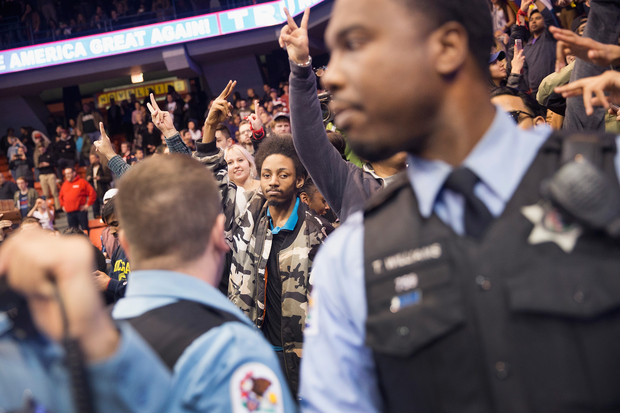 Chicago Police had to clear out the UIC Pavilion after the Trump rally was canceled for safety reasons.