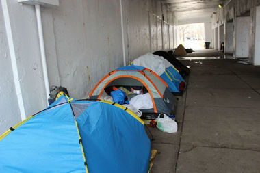 The viaducts at Lawrence Avenue and Marine Drive in Uptown typically attract the homeless.