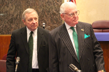 U.S. Sen. Dick Durbin and Ald. Edward Burke supported a ban on chewing tobacco at sporting events.