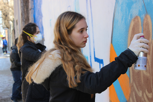 Lucy Weaver was among the students who painted the mural.