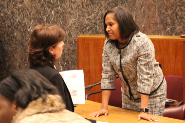 Ald. Margaret Laurino meets Sophia King before her confirmation hearing.