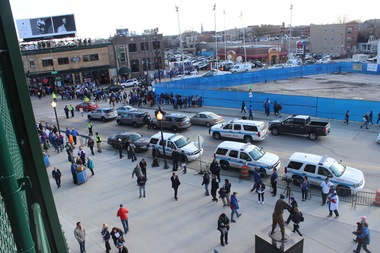 Police vehicles blocked the left turn lane going south on Clark Street for the Cubs' home opener Monday.
