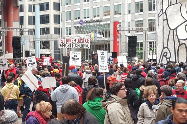 After spending the  morning picketing near neighborhood  schools and strategic rallying spots, hundreds of striking teachers and their allies are moving downtown for an afternoon rally.