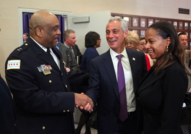 Interim Supt. Eddie Johnson (from l.), Mayor Rahm Emanuel, and Lt. Nakia Fenner at  Chicago Police Department headquarters on March 28