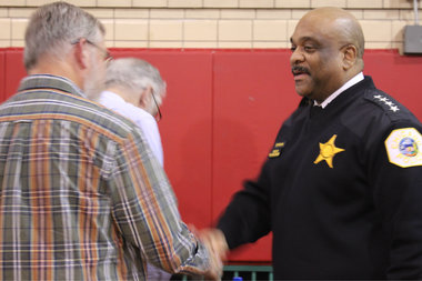 New Police Supt. Eddie Johnson fielded questions at a 33rd Ward town hall meeting.