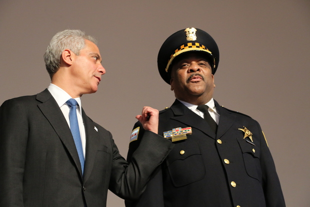 Mayor Rahm Emanuel (l.) and interim Police Supt. Eddie Johnson (r.) at a Chicago Police Department promotion and graduation ceremony.