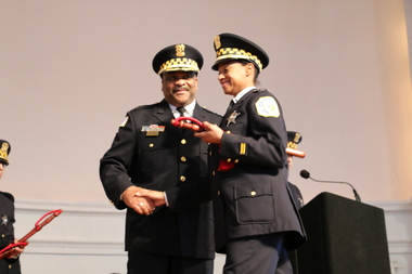 Lt. Nakia Fenner and interim Police Supt. Eddie Johnson, Fenner's fiancee, at a Chicago Police Department promotion ceremony.
