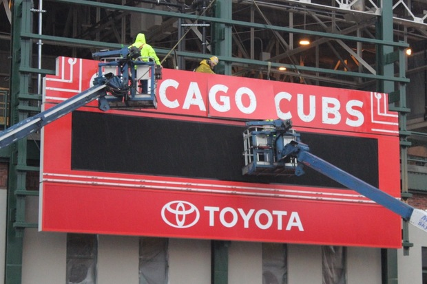 The Wrigley Field marquee returned to the ballpark Wednesday after it was removed in November for restoration.