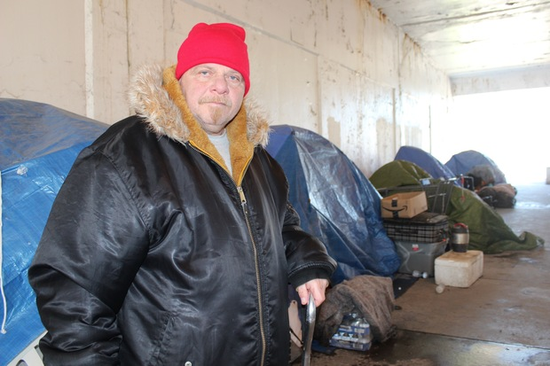 John Little has lived at the encampment under the Wilson viaduct for five years, he said.