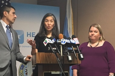 Howard Brown Health Center CEO David Ernesto Munar (l.), Dr. Julie Morita (c.) and Dr. Allison Arwady, of the Chicago Department of Public Health, speak about the meningitis outbreak in Chicago.
