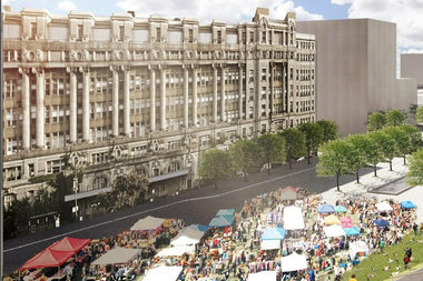 A conceptual rendering shows what the Cook County Hospital property could look like after redevelopment.