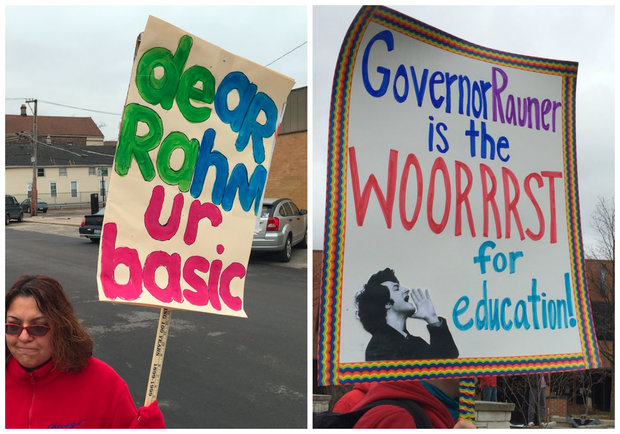 Chicago teachers picketed outside schools Friday, and their signs were pretty darn clever.
