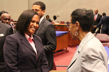 Sophia King meets Ald. Carrie Austin after Tuesday's Rules Committee meeting.