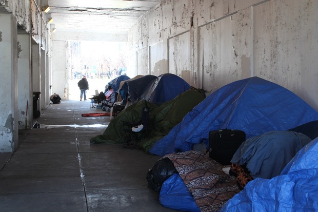 The homeless encampment under the viaduct on Wilson Avenue.