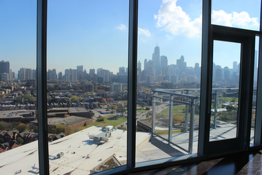 The view from the penthouse apartment at New City, 1500 N. Clybourn Ave.
