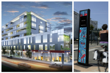 A bike counter totem will be installed in front of a new apartment building at 1237-43 N. Milwaukee Ave.